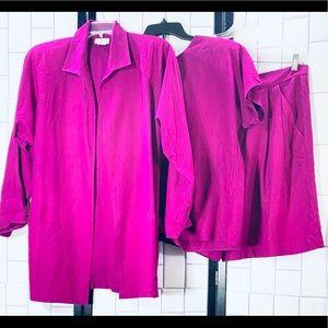 GEORGE GEORGIOU Vintage L Raw Silk 3 Pc Set 1980's